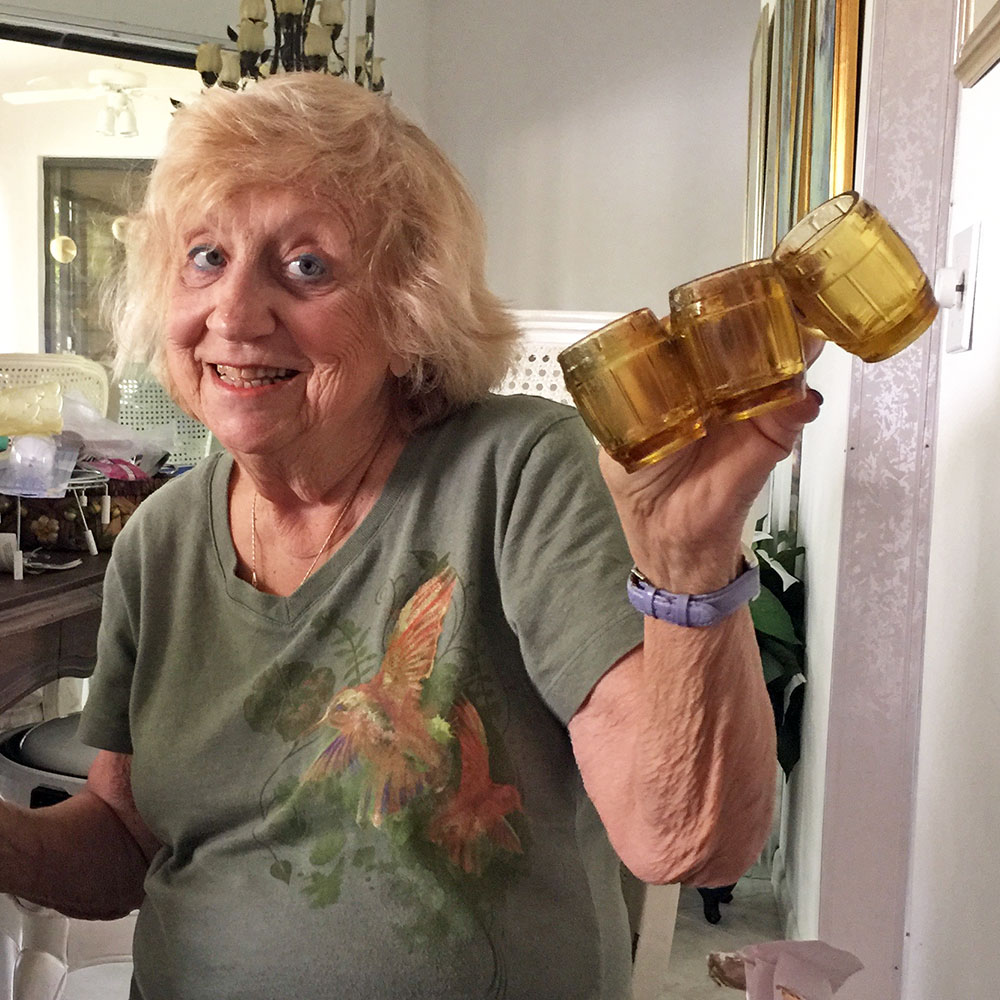 Lois Grossberg with her Bavarian Shot Glasses